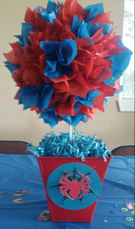Spiderman center piece for superhero birthday party!(by rosaa10) #spiderman #birthdayparty #centerpiece #superhero