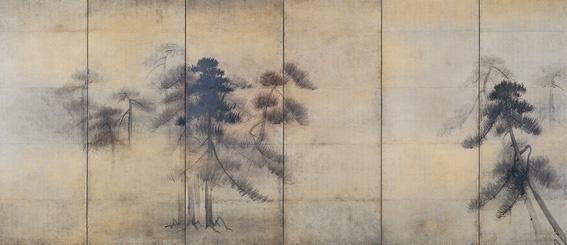 長谷川等伯/Hasegawa Tohaku  pine trees on silk screens