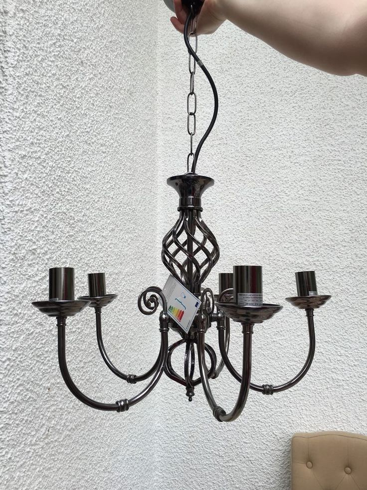 5 Arm Chandelier Pewter Colour