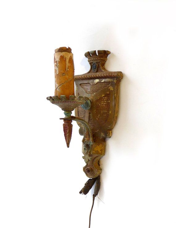 Candle Wall Light Fittings : Antique 1920s medieval castle crest metal wall sconce light fitting, medieval style candle ...