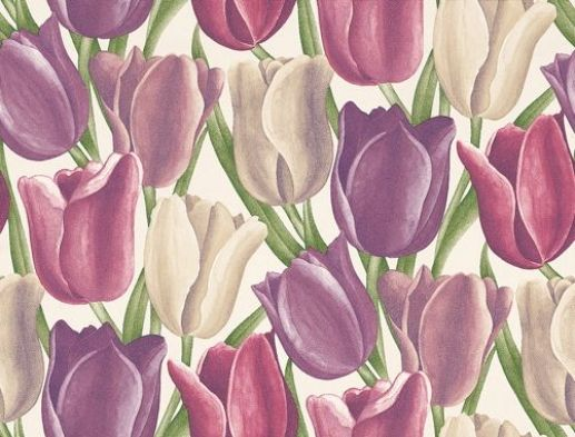 Early Tulips (DVIWEA101) - Sanderson Wallpapers - A wide width design of boldly bright tulips on a large scale –   simply stunning – adds a touch of summer to your room all year round.   Available in 6 colourways, shown in the purple and plum.   Love this! Bed head wall?