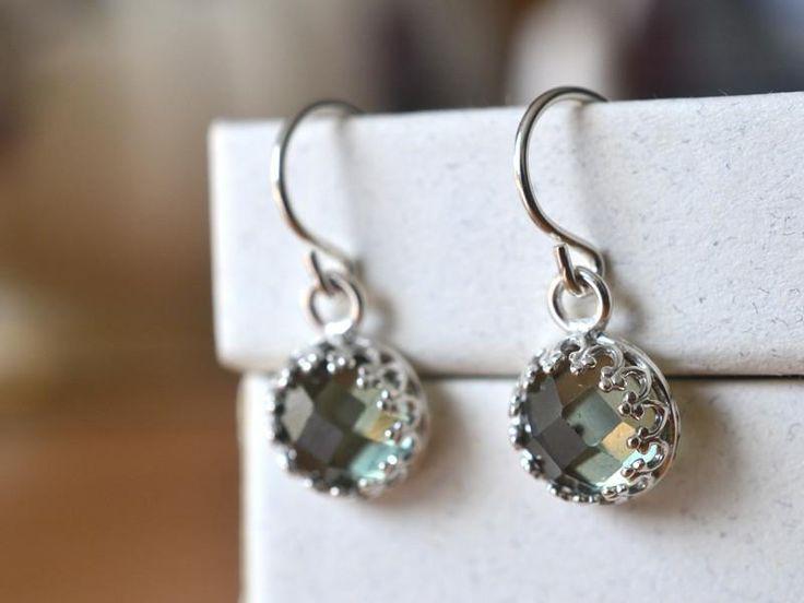 Green Spinel Earrings, Handmade Dangly Sterling Silver Earrings