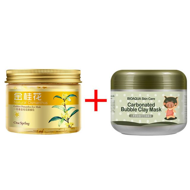 2pcs Gold Osmanthus Eye Mask Women Collagen Gel Whey Protein Kawaii Black Pig Carbonated Bubble Clay Skin Care Face Mask Clay Face Mask Face Mask Ingredients