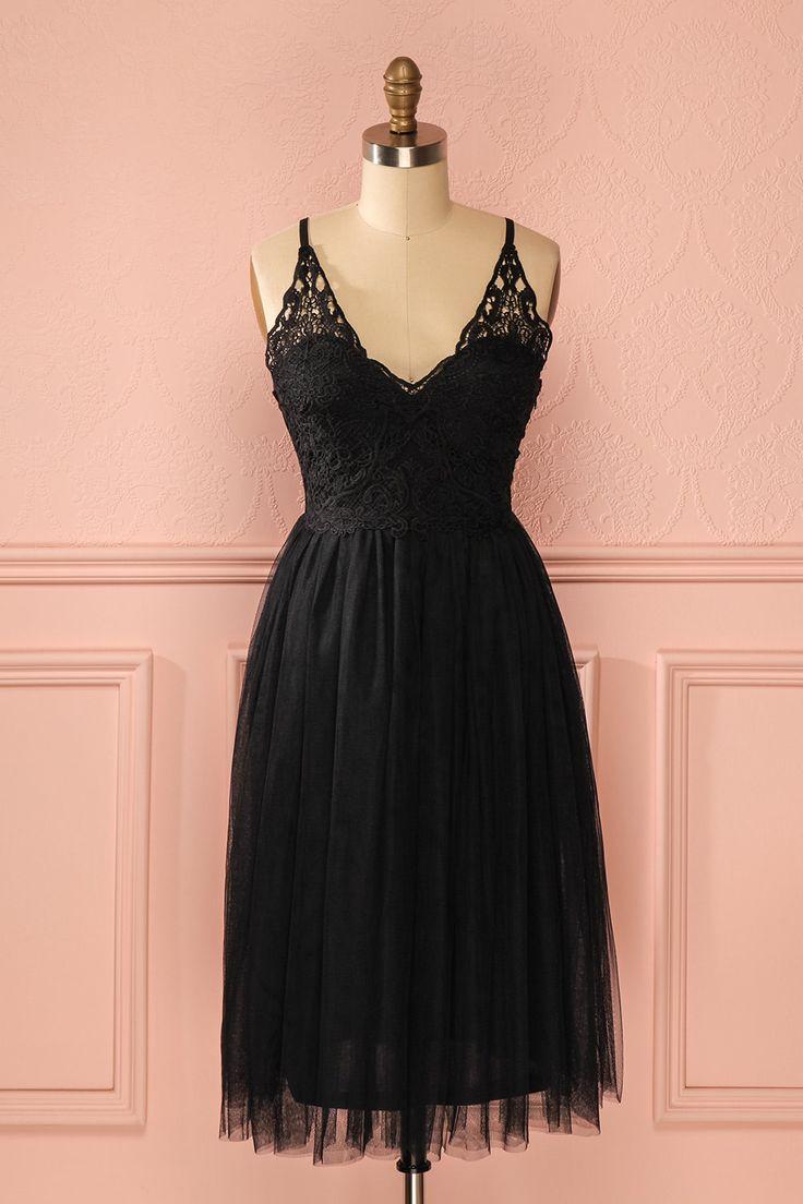 Robe mi-longue noire tutu buste dentelle - Black lace bust tutu skirt mid-length…