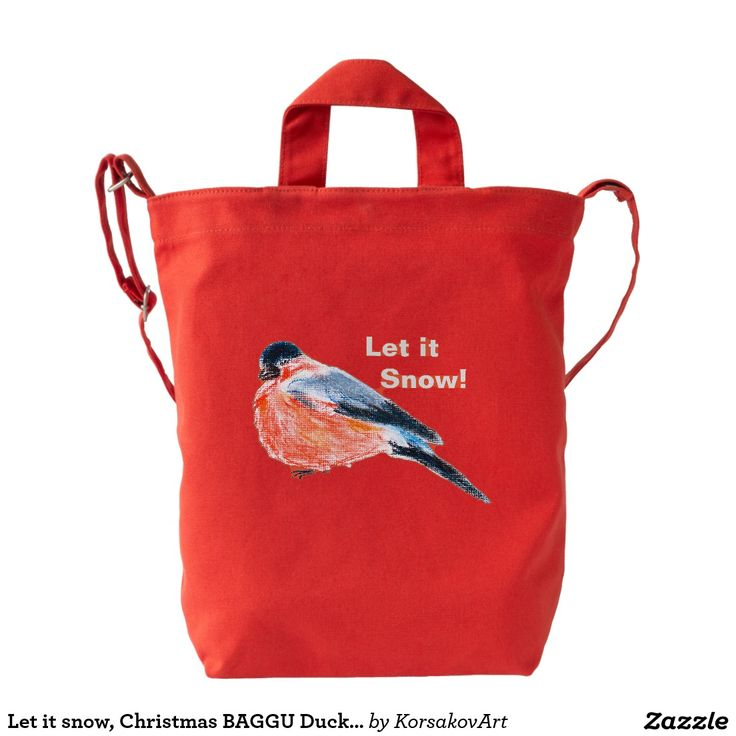Let it snow, Christmas BAGGU Duck Bag, Poppy Duck Canvas #Bag #artwork #accessory #bird #snowbird #christmas #gift #presents #red