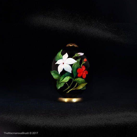 #Quail egg, #Jasmin and geranium, Green #leaves, #Veranda garden, #watercolor, #easteregg, #eggart