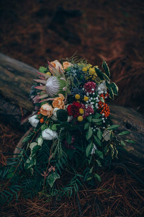 SJ + ALEX // #wedding #flowers #bouquet #colourful #forest