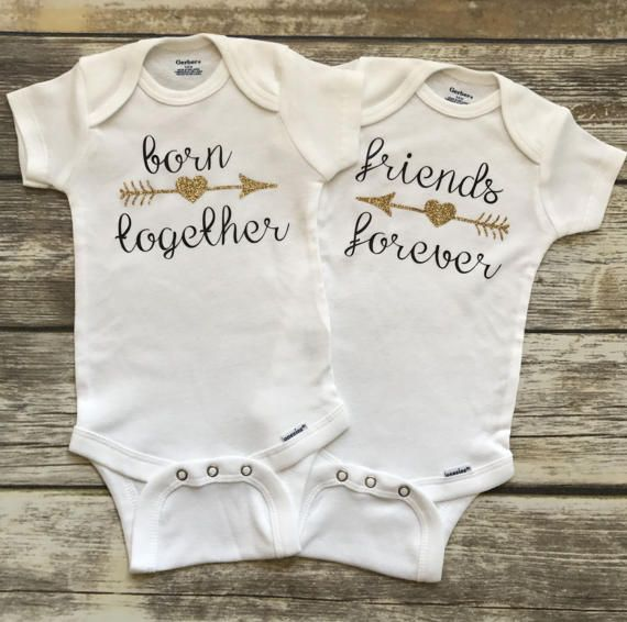 Dress your snuggly babies in our custom twin infant onesie set. Printed with Born Together & Friends Forever this twin handmade clothing item is an adorable addition to your twin little girls wardrobe. Youre going to love this twin funny baby onesie!  Give your best girlfriend this twin handmade onesies at her twin baby shower. Our twin baby girl onesie also makes a lovely twin baby gift for those new parents in your life. This sweet twin infant clothing item set is going to make you smil...