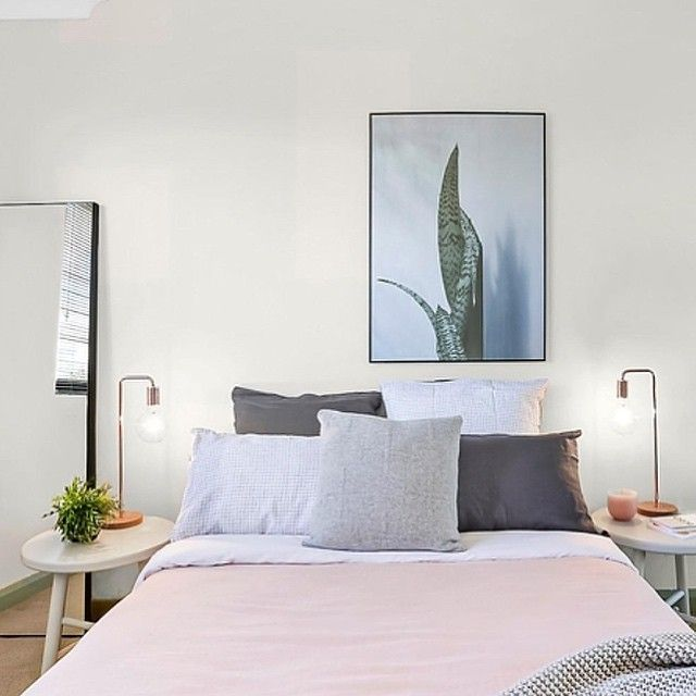 Recently styling by #thehiredhome. #bedroom #lineninspiration #sydneyrealestate #propertystyling #interiorhome #homestaging #interiorstyling #copper #succulent