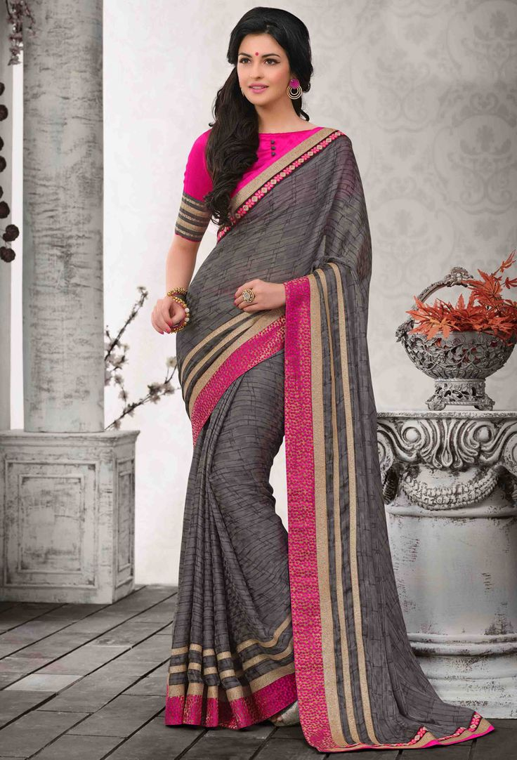 Turn #every head your way as you #drape yourself in this #gray chiffon and satin #saree
