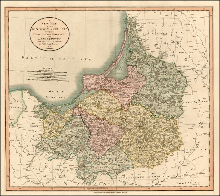 Map of the Kingdom of Prussia with its Divisions Into Provinces and Governments - 1799 - This includes the Baltic regions and some parts of Poland