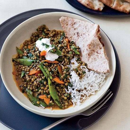 Green-Lentil Curry | Eaten over rice with yogurt, the lentil-vegetable curry here is a very satisfying meal.