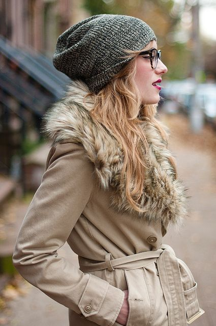The trench heads into winter. (The fur is faux!) Via Eat Sleep Wear. Coat by Ralph Lauren, hat from Target.