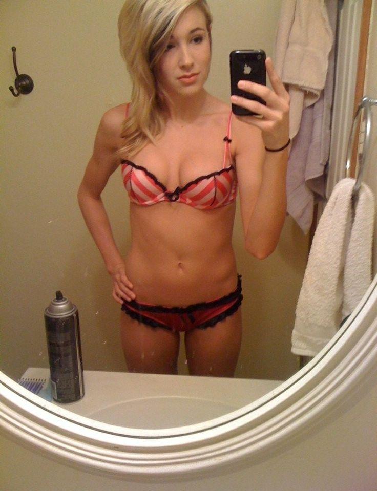 Topless teen in leggings