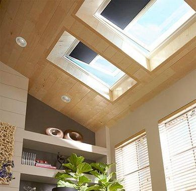"Skylights with retractable ""blackout"" blinds"
