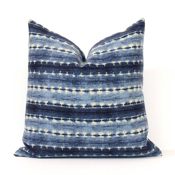 Brand new pillow cover in a gorgeous blue shibori stripe printed fabric.    Striped fabric on both sides of cover. Please see the close up pictures
