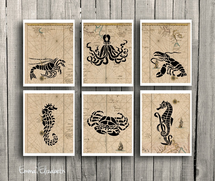 Nautical art print mixed media sea creatures wall decor for Coastal wall decor ideas