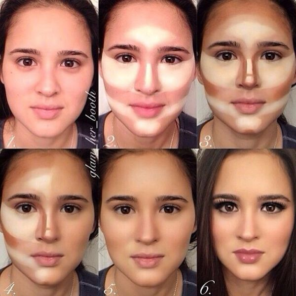 dang... girls be using too much makeup. cant even tell that its the same person.