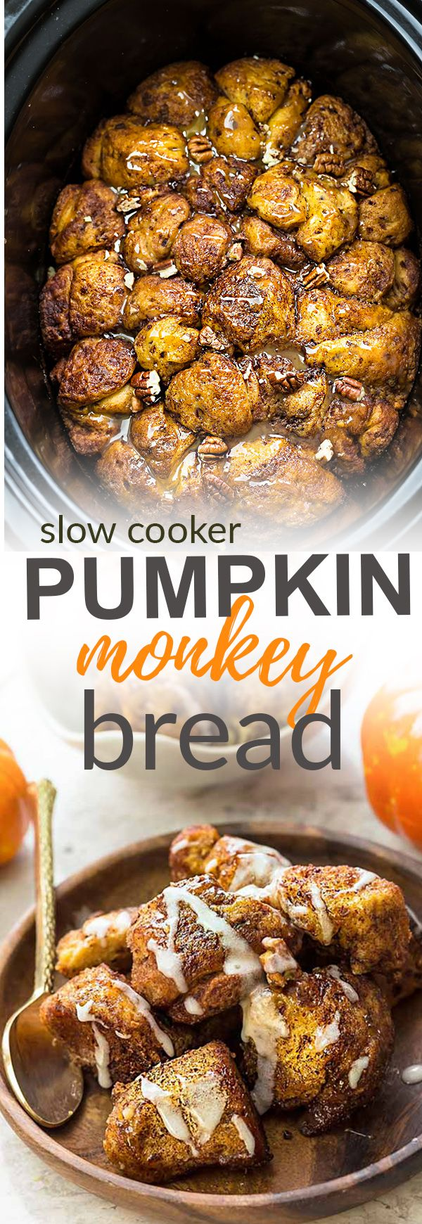 This recipe for Slow Cooker Pumpkin Monkey Bread makes the perfect easy breakfast or brunch. Best of all, it's so easy to make in your crock-pot with refrigerated cinnamon roll dough and it's full of cozy fall spices and a pumpkin cheesecake filling. So delicious for the holidays or any regular day.