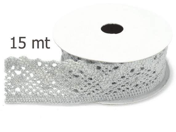 Merletti - Nastro di Pizzo Grigio mm.20 mt.15 - un prodotto unico di raffasupplies su DaWanda