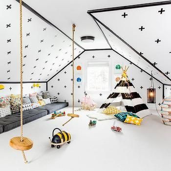 Cushions /bed Along One Wall, Toys Along The Other, Swing Frim The Ceiling