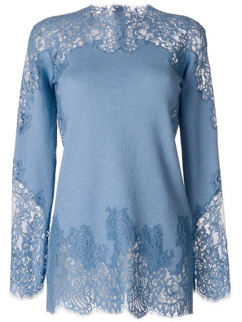 Shop Ermanno Scervino lace insert top.