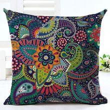Tejido de Lino Funda de Cojín Geométrica Sofá Car Home Decorativo Throw Pillow Cojines de Bohemia Paisley Estilo TAMAÑO 45*45(China (Mainland))