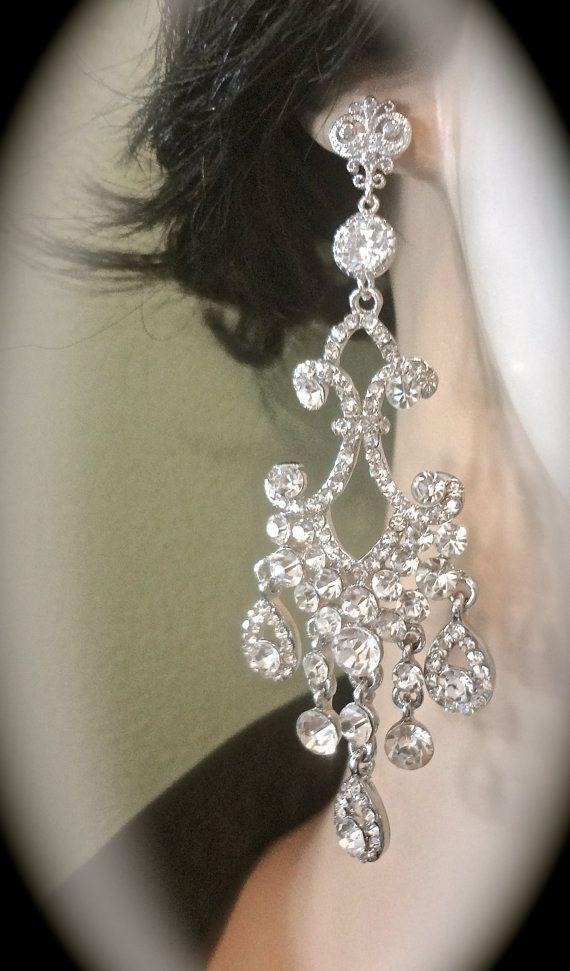 Chandelier earrings  Long  Rhinestone by QueenMeJewelryLLC on Etsy, $64.99