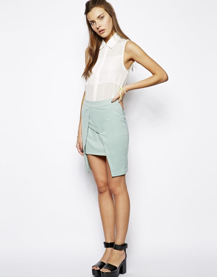 Image 1 ofLavish Alice Asymmetric Split Pencil Skirt