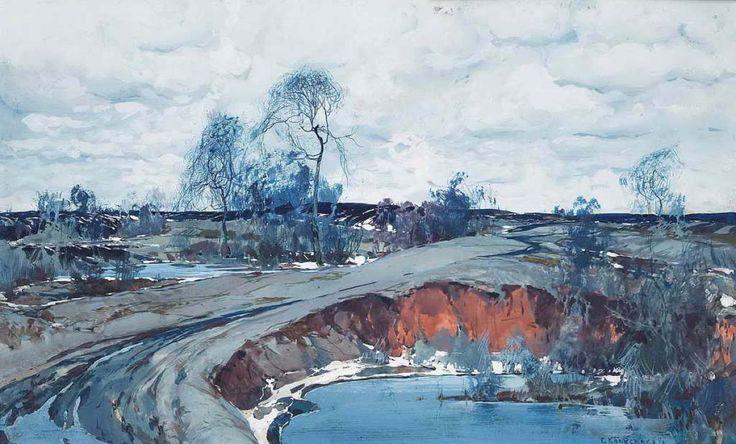 """""""Весенний пейзаж"""", 1922 г.картон, темпера; 30х48;правый нижний угол """"С. Колесников"""""""
