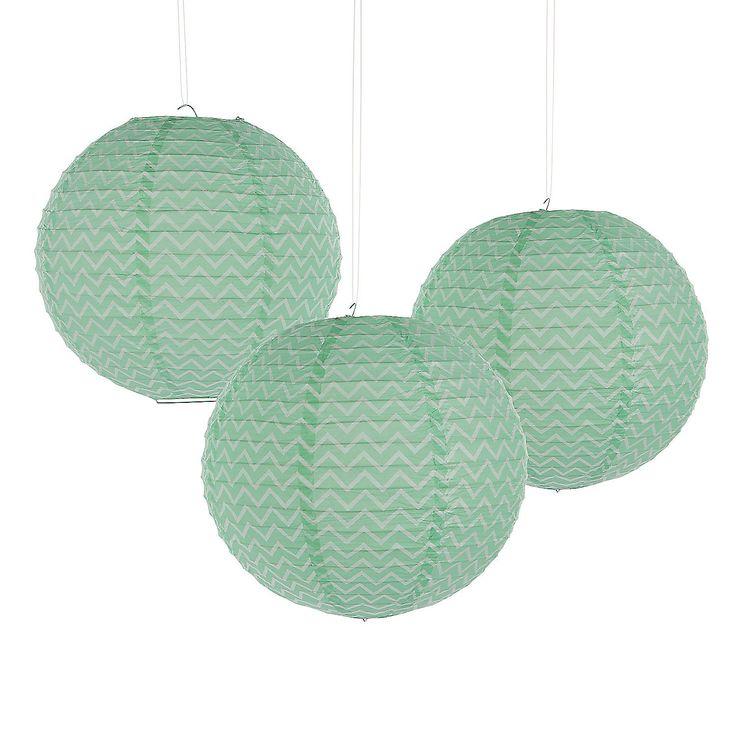 Mint Green Chevron Lanterns - OrientalTrading.com