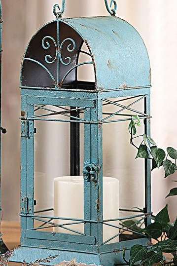 Metal Lantern - Aqua rustic cottage chic