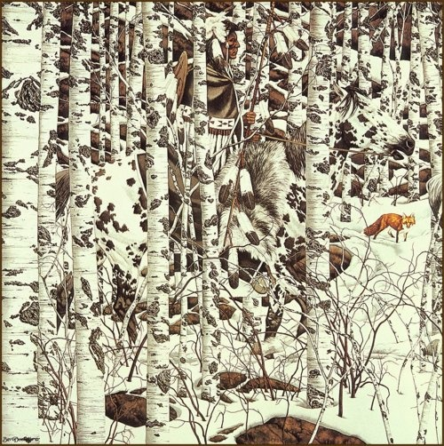 Bev Doolittle has a lot of these hidden-image paintings of nature. Once seen, the images, which are often not visible to begin with, are impossible to miss.