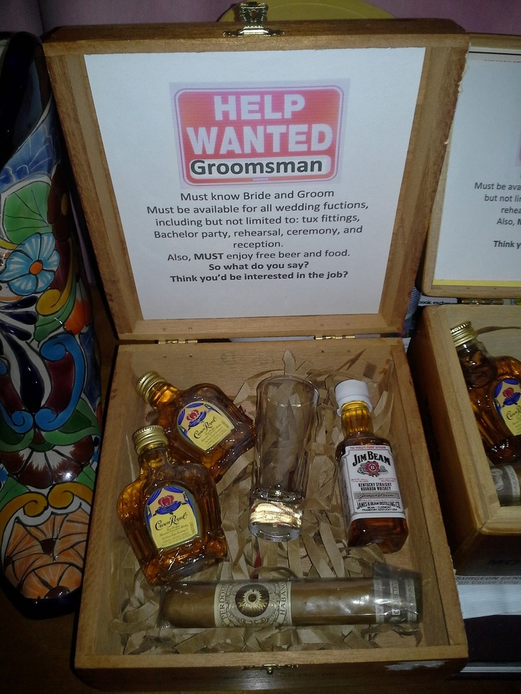 Justin and I made these to ask his groomsmen. They are in cigar boxes. (How to ask groomsmen)