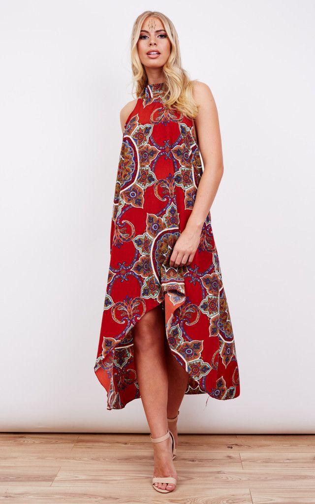 Aztec Halterneck Dipped Hem Dress - SilkFred