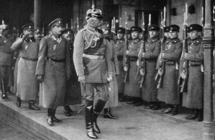 German Field Marshal August von Mackensen inspecting Bulgarian troops, 1916; note Bulgarian Crown Prince Boris behind him