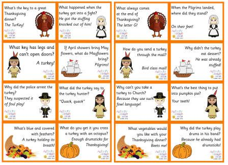 Thanksgiving jokes lunch box notes