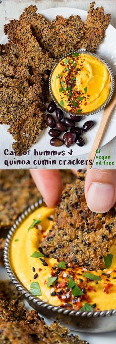 This smooth and smoky carrot hummus with a side of crispy quinoa cumin crackers makes a great, light lunch, snack, or appetizer. | Vegan, gluten free, and oil free.