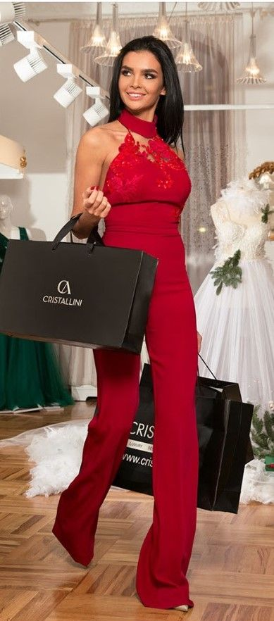 CRISTALLINI #Jumpsuit #RedStyle #Glamour #EveningStyle #Fashion