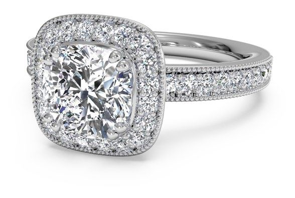 Cushion Cut Vintage Cushion Halo Diamond Band Engagement Ring with Surprise Diamonds in 18kt White Gold 0.41 CTW