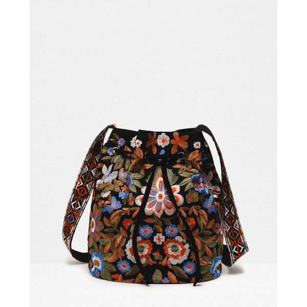 Zara Embroidered Bucket Bag (160 BRL) ❤ liked on Polyvore featuring bags, handbags, shoulder bags, zara handbags, bucket bags, zara purse, embroidery purse and embroidered handbag