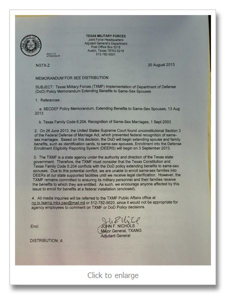 Gay military group: Texas Military Forces still denies benefits to same-sex National Guard couples