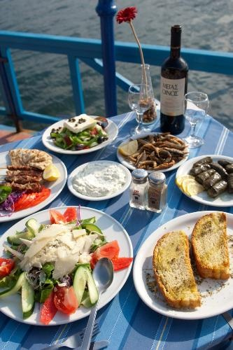A selection of the offerings at Aspros Gatos restaurant in Poros, Saronic Gulf, Greece.