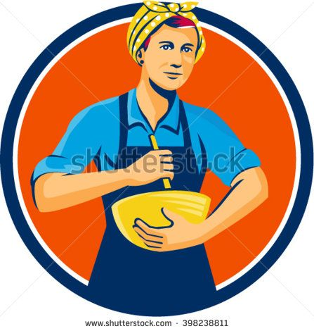 Illustration of a female chef with bandana holding spatula and mixing bowl mixing viewed from the front set inside circle on isolated background done in retro style.  - stock vector #mother #retro #illustration