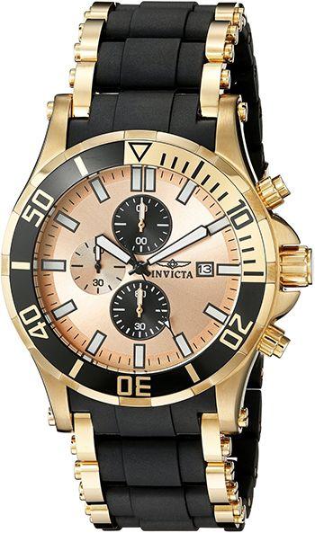 Montre Invicta Sea Spider 1478 - Quartz - Chronographe - Cadran et Bracelet en Acier inoxydable Noir et Or - Date - Étanche 20 bars - Montre Homme