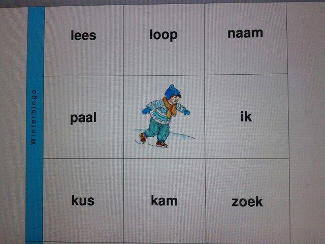 Bingo winter. Met de aangeboden woorden van Leessleutel tot en met thema 8. Te downloaden van digischool.