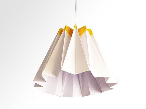 Jelly / Origami Paper LampShade - Yellow and White op Etsy, 37,09€