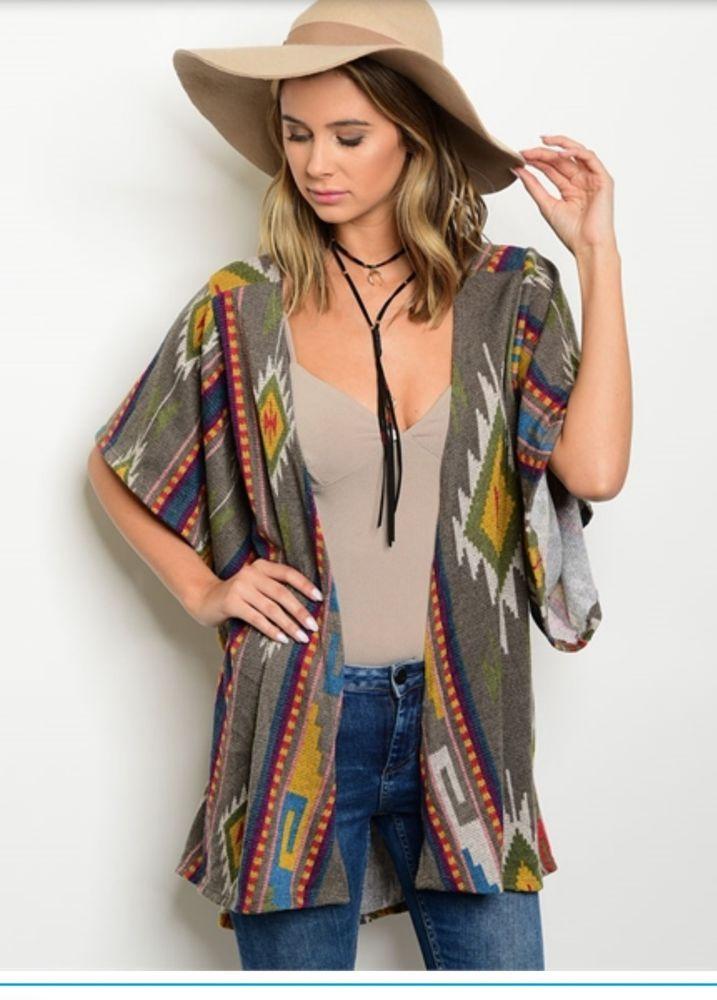 "Cowgirl Gypsy DUSTER Jacket Cardigan Aztec Southwestern MEDIUM OVERSIZE 50""BUST #GIGIU #CARDIGANDUSTER"