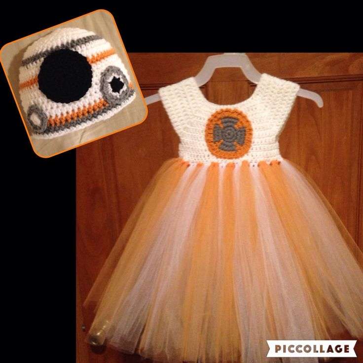 Crochet BB-8 Inspired Tutu Dress Costume Set by CrochetByMaddy on Etsy https://www.etsy.com/listing/455944160/crochet-bb-8-inspired-tutu-dress-costume