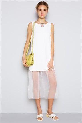 Kırık Beyaz Elbise http://indirimkodlarim.com/trendyol